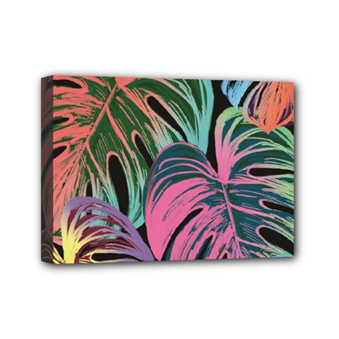 Leaves Tropical Jungle Pattern Mini Canvas 7  X 5  (stretched)