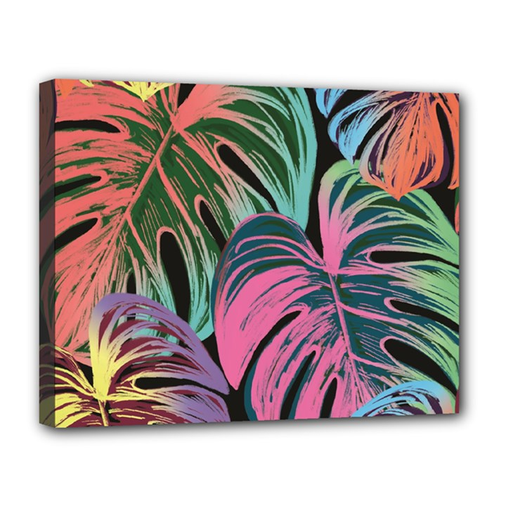 Leaves Tropical Jungle Pattern Canvas 14  x 11  (Stretched)