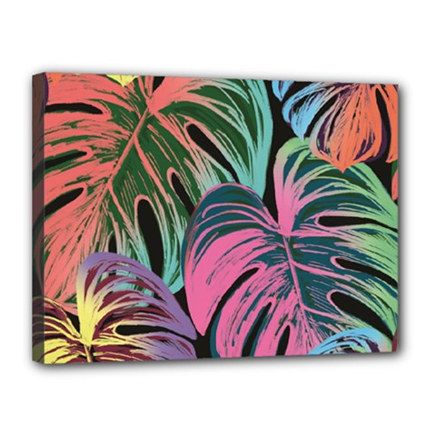Leaves Tropical Jungle Pattern Canvas 16  X 12  (stretched)
