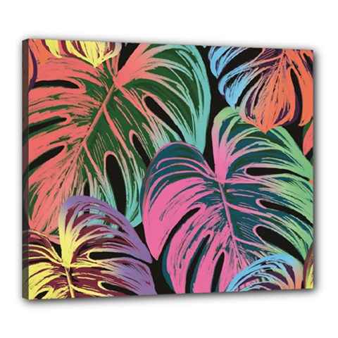 Leaves Tropical Jungle Pattern Canvas 24  X 20  (stretched)