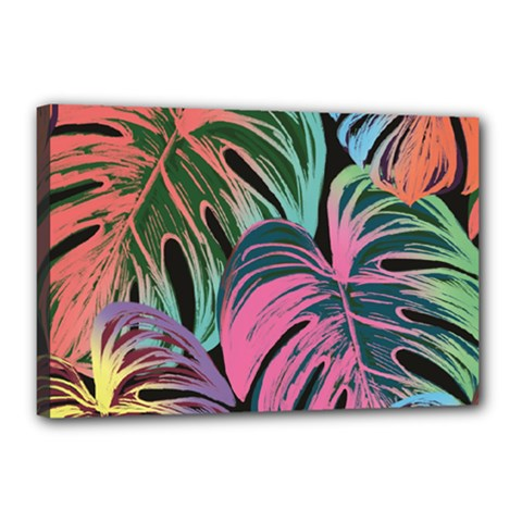 Leaves Tropical Jungle Pattern Canvas 18  X 12  (stretched)