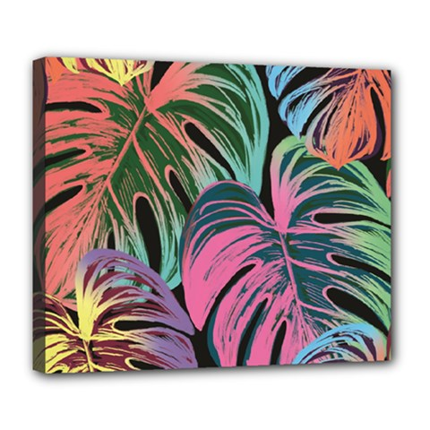 Leaves Tropical Jungle Pattern Deluxe Canvas 24  X 20  (stretched)