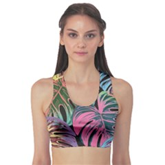 Leaves Tropical Jungle Pattern Sports Bra
