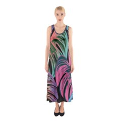Leaves Tropical Jungle Pattern Sleeveless Maxi Dress