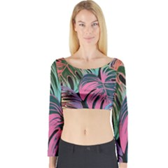 Leaves Tropical Jungle Pattern Long Sleeve Crop Top