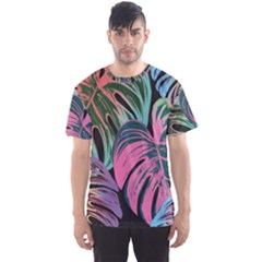 Leaves Tropical Jungle Pattern Men s Sports Mesh Tee