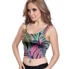 Leaves Tropical Jungle Pattern Crop Top
