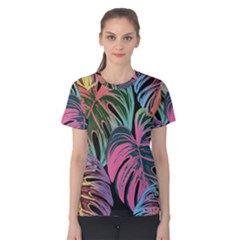 Leaves Tropical Jungle Pattern Women s Cotton Tee