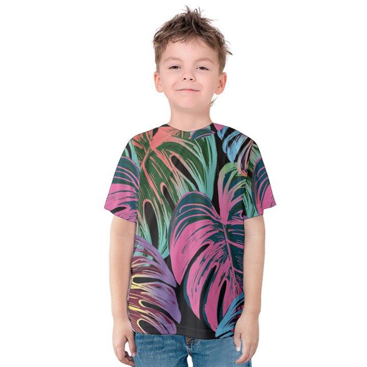 Leaves Tropical Jungle Pattern Kids  Cotton Tee