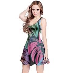 Leaves Tropical Jungle Pattern Reversible Sleeveless Dress