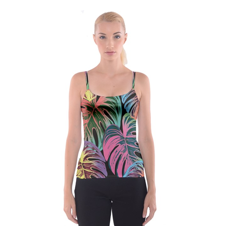 Leaves Tropical Jungle Pattern Spaghetti Strap Top