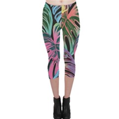 Leaves Tropical Jungle Pattern Capri Leggings