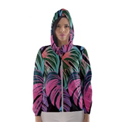 Leaves Tropical Jungle Pattern Hooded Windbreaker (women)