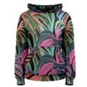 Leaves Tropical Jungle Pattern Women s Pullover Hoodie View1