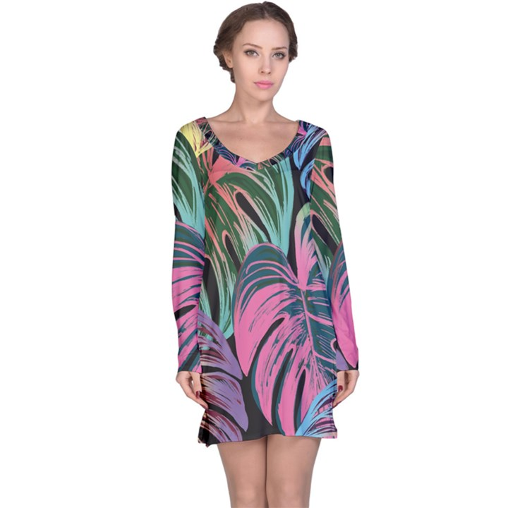 Leaves Tropical Jungle Pattern Long Sleeve Nightdress
