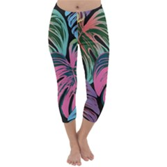 Leaves Tropical Jungle Pattern Capri Winter Leggings