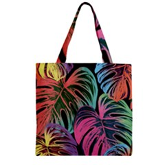 Leaves Tropical Jungle Pattern Zipper Grocery Tote Bag