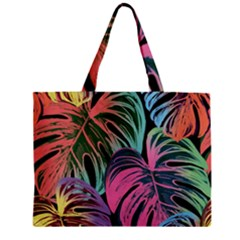 Leaves Tropical Jungle Pattern Zipper Mini Tote Bag