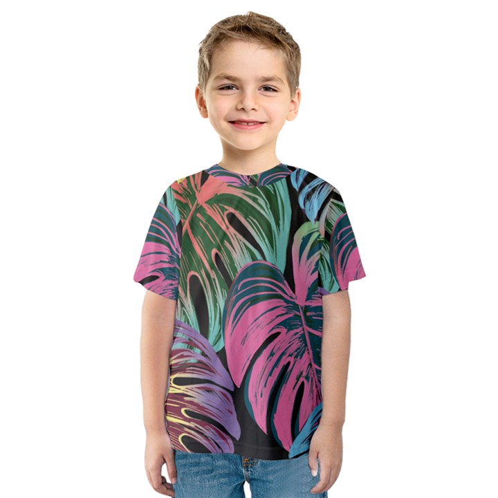 Leaves Tropical Jungle Pattern Kids  Sport Mesh Tee