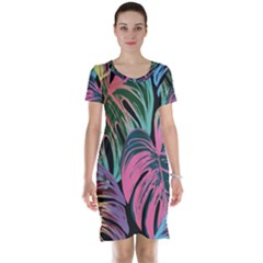 Leaves Tropical Jungle Pattern Short Sleeve Nightdress