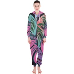 Leaves Tropical Jungle Pattern Hooded Jumpsuit (ladies)
