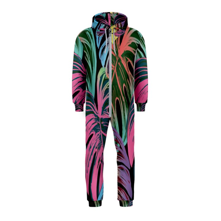 Leaves Tropical Jungle Pattern Hooded Jumpsuit (Kids)