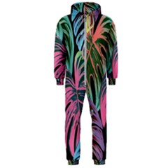 Leaves Tropical Jungle Pattern Hooded Jumpsuit (men)