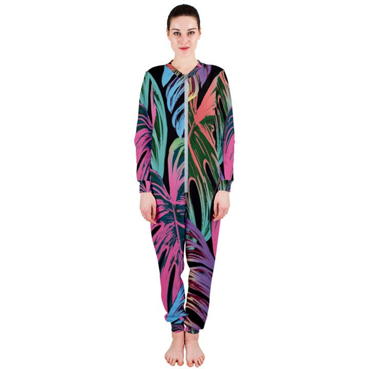 Leaves Tropical Jungle Pattern OnePiece Jumpsuit (Ladies)