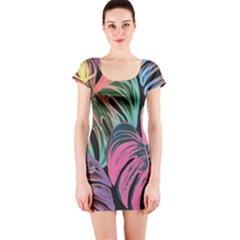 Leaves Tropical Jungle Pattern Short Sleeve Bodycon Dress