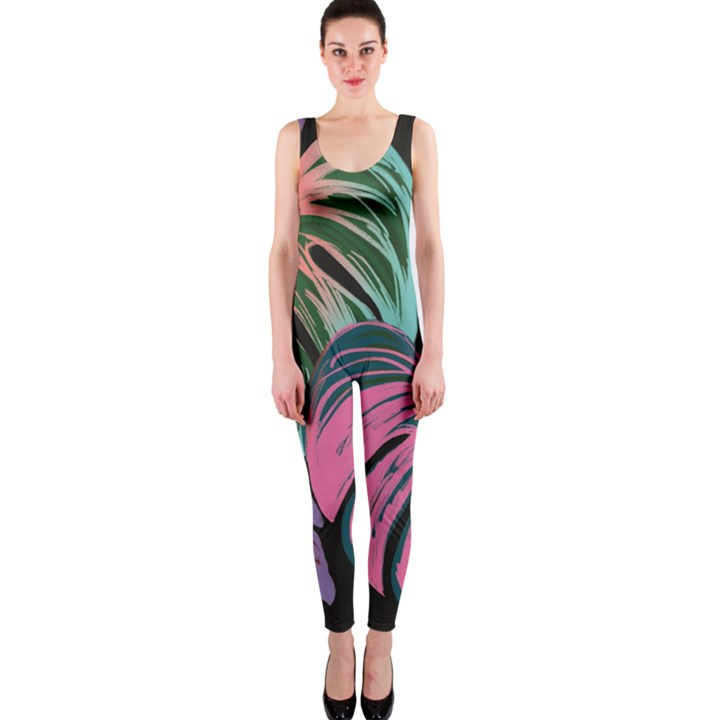 Leaves Tropical Jungle Pattern One Piece Catsuit