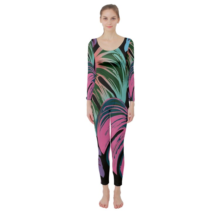 Leaves Tropical Jungle Pattern Long Sleeve Catsuit