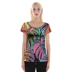 Leaves Tropical Jungle Pattern Cap Sleeve Top