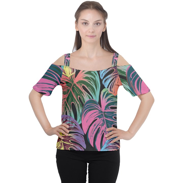 Leaves Tropical Jungle Pattern Cutout Shoulder Tee