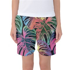 Leaves Tropical Jungle Pattern Women s Basketball Shorts
