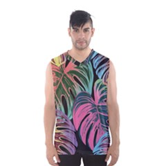 Leaves Tropical Jungle Pattern Men s Basketball Tank Top