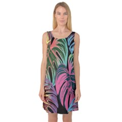 Leaves Tropical Jungle Pattern Sleeveless Satin Nightdress