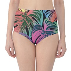 Leaves Tropical Jungle Pattern Classic High Waist Bikini Bottoms