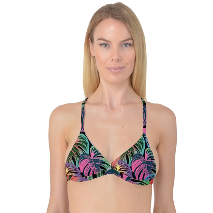 Leaves Tropical Jungle Pattern Reversible Tri Bikini Top