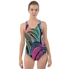 Leaves Tropical Jungle Pattern Cut Out Back One Piece Swimsuit