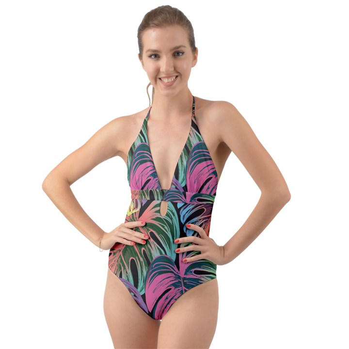 Leaves Tropical Jungle Pattern Halter Cut-Out One Piece Swimsuit