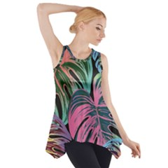 Leaves Tropical Jungle Pattern Side Drop Tank Tunic