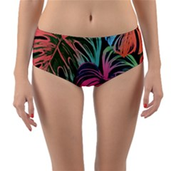 Leaves Tropical Jungle Pattern Reversible Mid Waist Bikini Bottoms