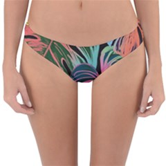 Leaves Tropical Jungle Pattern Reversible Hipster Bikini Bottoms