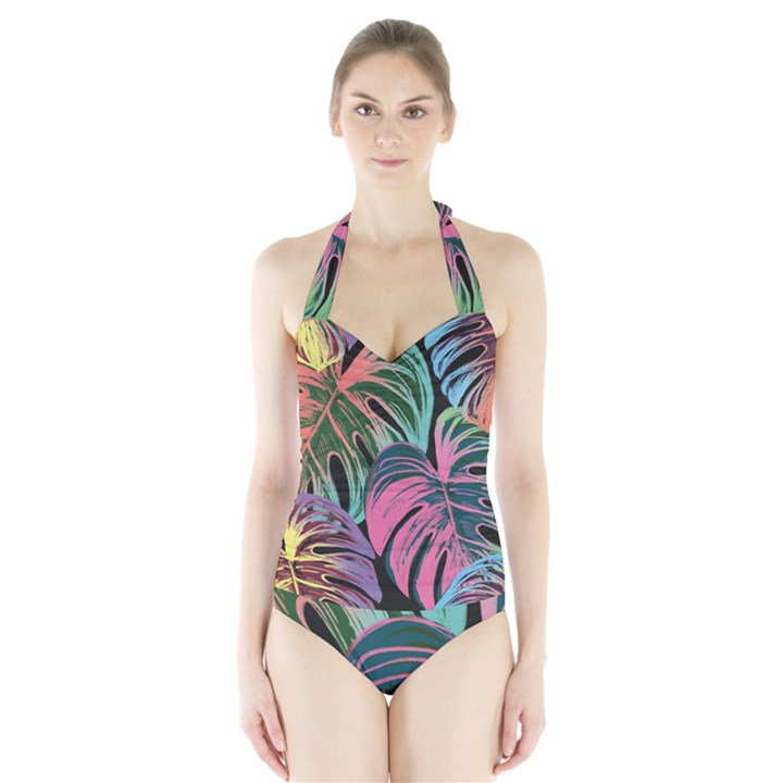 Leaves Tropical Jungle Pattern Halter Swimsuit