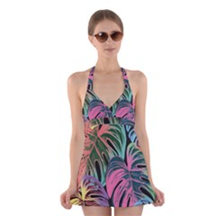 Leaves Tropical Jungle Pattern Halter Dress Swimsuit