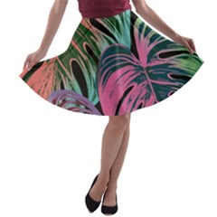 Leaves Tropical Jungle Pattern A Line Skater Skirt