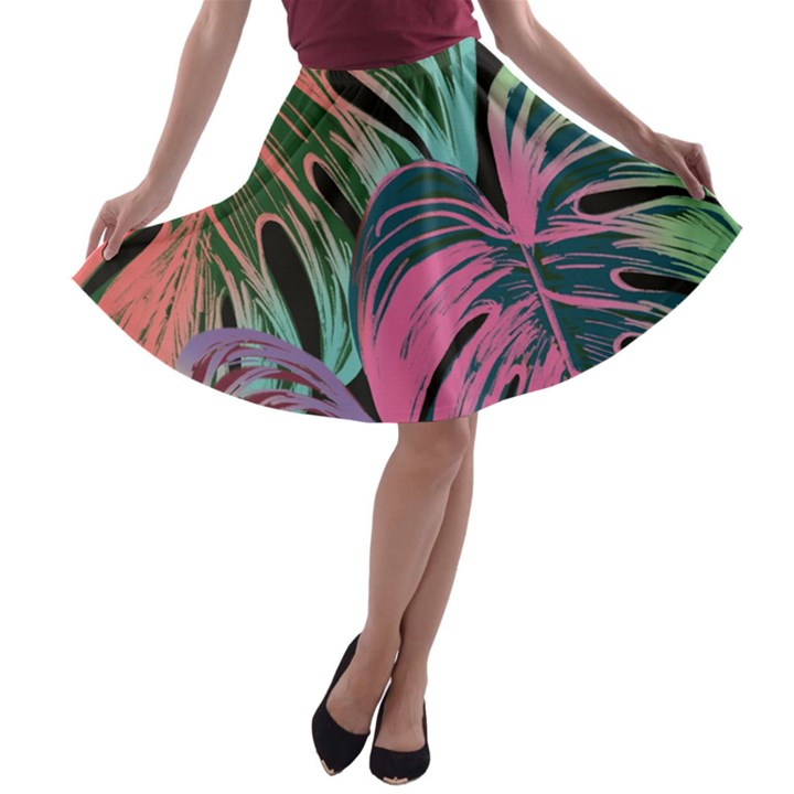 Leaves Tropical Jungle Pattern A-line Skater Skirt