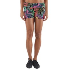 Leaves Tropical Jungle Pattern Yoga Shorts