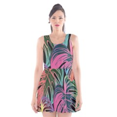 Leaves Tropical Jungle Pattern Scoop Neck Skater Dress