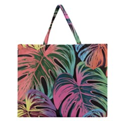 Leaves Tropical Jungle Pattern Zipper Large Tote Bag